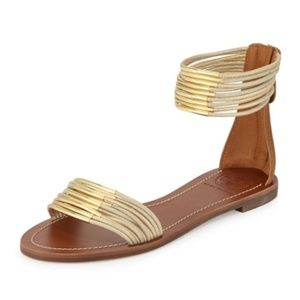 Tory Burch Mignon Rings Flat Sandals Gold Tan 9.5